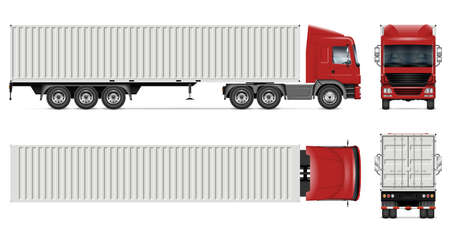 Container truck vector mockup on white for vehicle branding, corporate identity. View from side, front, back and top. All elements in the groups on separate layers for easy editing and recolor