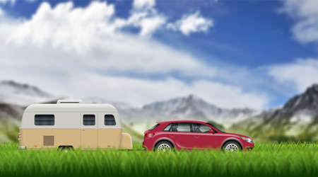 Caravan trailer on the green grass on the mountain landscape. SUV car pulling rv vector background with blur effect. 向量圖像