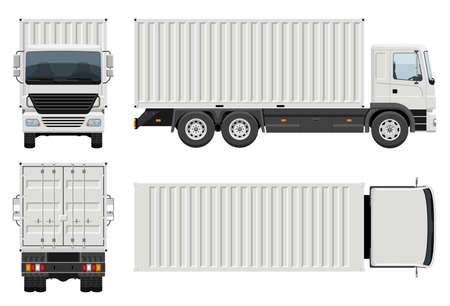 Container truck vector template with simple colors without gradients and effects. View from side, front, back, and top