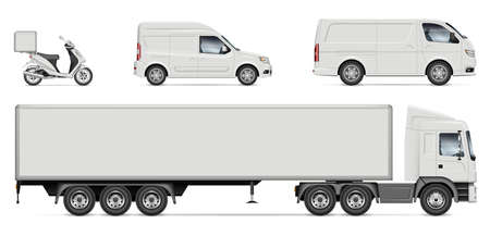Delivery vehicles vector mockup for vehicle branding, advertising, corporate identity. Truck, van, motorcycle, minivan with side view on white background. All elements in the groups on separate layers Stock Illustratie
