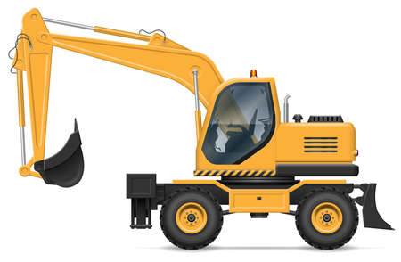 Wheel excavator vector illustration view from side isolated on white background. Construction and mining vehicle mockup. All elements in the groups for easy editing and recolor
