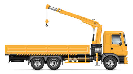 Crane truck vector illustration view from side isolated on white background. Construction and loading equipment mockup. All elements in the groups for easy editing and recolor