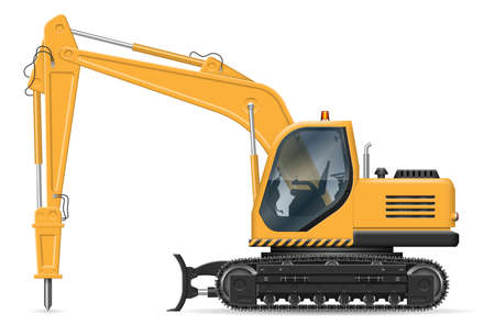 Excavator with hydraulic jackhammer side view isolated on white background. construction and road equipment vector mockup, easy editing and recolor