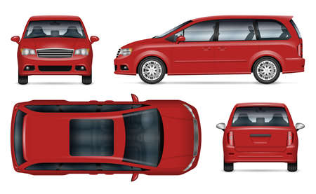 Red minivan vector mockup on white background for vehicle branding, corporate identity. View from side, front, back, top. All elements in the groups on separate layers for easy editing and recolor Ilustração