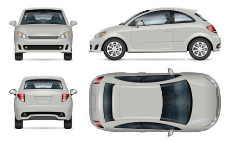 Mini car vector mockup on white background for vehicle branding, corporate identity. View from side, front, back, top. All elements in the groups on separate layers for easy editing and recolor