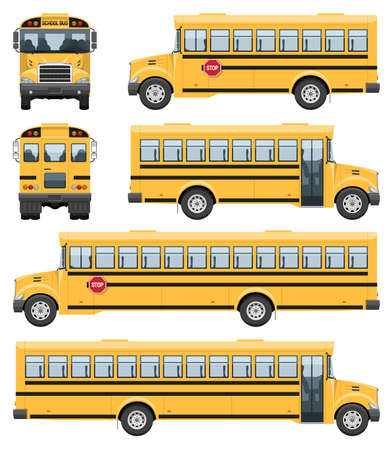 School buses vector template with simple colors without gradients and effects. View from side, front and back Ilustracja