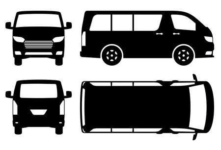 Van silhouette on white background. Vehicle icons set view from side, front, back, and top Ilustracja