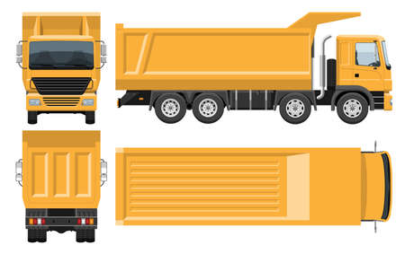 Dump truck vector template with simple colors without gradients and effects. View from side, front, back and top