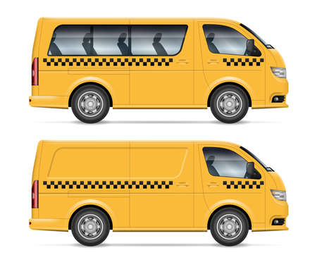 Taxi minivans vector illustration view from side. All elements in the groups on separate layers for easy editing and recolor