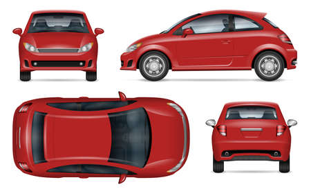 Compact car vector mockup. Isolated template of minicar for vehicle branding, corporate identity. View from side, front, back, top. All elements in the groups on separate layers for easy editing