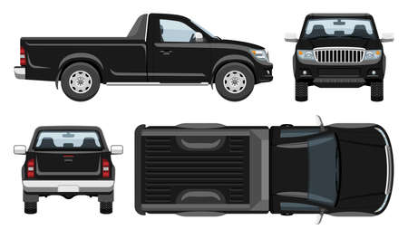 Black pickup truck vector template with simple colors without gradients and effects. View from side, front, back, and top