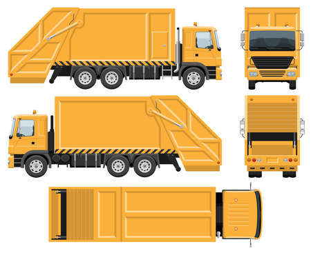 Garbage truck vector template with simple colors without gradients and effects. View from side, front, back, and top
