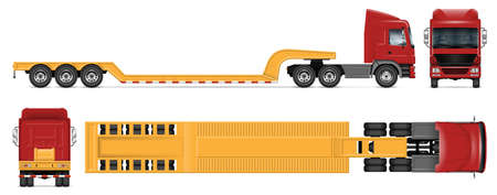 Lowboy trailer truck vector mockup on white for vehicle branding, corporate identity. View from side, front, back and top. All elements in the groups on separate layers for easy editing and recolor