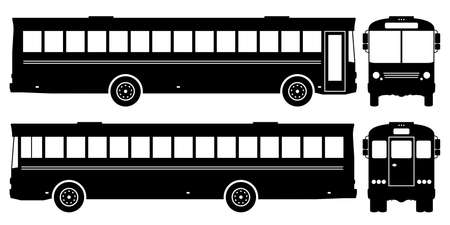 Bus silhouette on white background. Vehicle icons set view from side, front and back