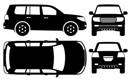 Off road truck silhouette on white background. Vehicle icons set view from side, front, back, and top