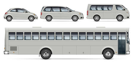 City transport mockup – bus, minivan and car, view from side. Vector template for vehicle branding, corporate identity. All elements in the groups on separate layers for easy editing and recolor. Ilustracja