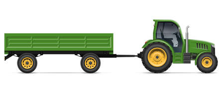 Tractor with trailer vector illustration view from side. Agricultural vehicle mockup isolated on white background. All elements in the groups for easy editing and recolor