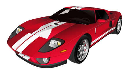 Red sports car vector illustration isolated on white background Ilustracja