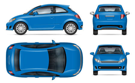 Blue car vector mockup on white background for vehicle branding, corporate identity. View from side, front, back, top. All elements in the groups on separate layers for easy editing and recolor