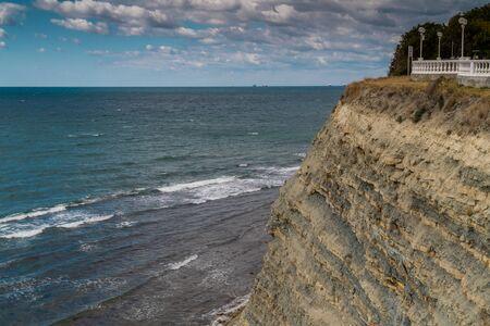 Russia. Krasnodar region. Views of the Black sea from the steep shores of Gelendzhik. Foto de archivo
