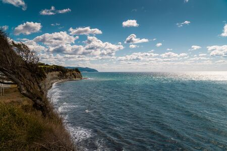 Russia. Krasnodar region. Views of the Black sea from the steep shores of Gelendzhik.