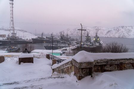 Winter views of the districts and landscapes of the surroundings of the city of Polyarny.