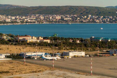 Russia. Krasnodar region. The view of the airport of Gelendzhik from a height of bird flight.