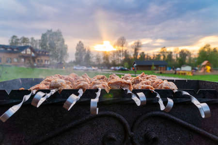 Russia. May 15, 2021. Meat shish kebab on skewers on the grill.