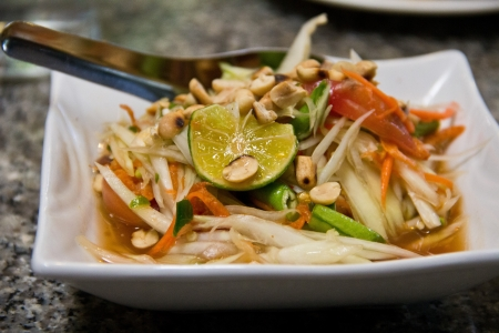Green papaya salad thai cuisine spicy delicious Stock Photo - 15007218