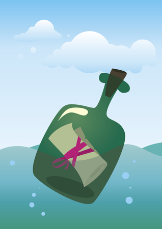 note in the bottle floating on the waves vector illustration