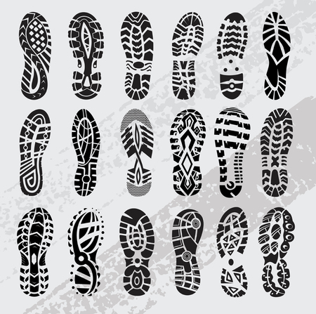 chaussures de sport empreinte grand ensemble de vecteurs Vecteurs