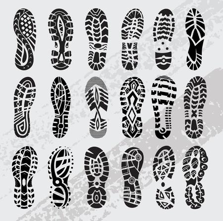 huella, zapatos deportivos, grande, vector, conjunto Ilustración de vector