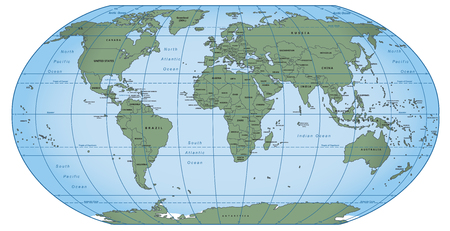 large political map of the world in Robinson projection vector illustration
