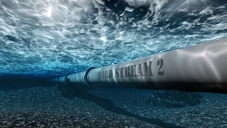 gas pipe Nord stream 2 under water 3D 写真素材
