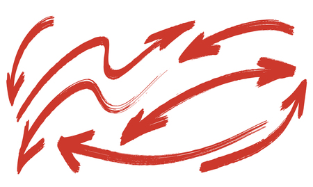arrows hand-drawn coarse brush vector set