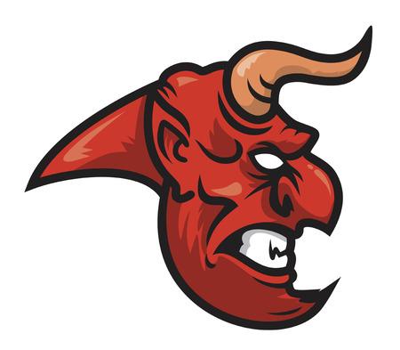 red devil head vector illustration mascot