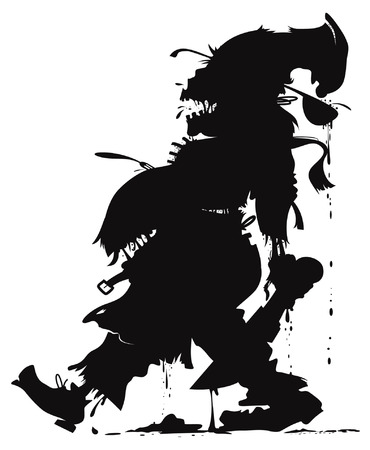vector silhouette of the zombie chef Illustration