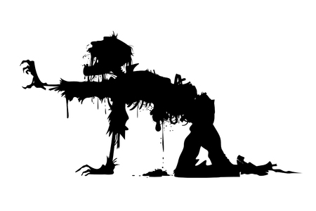 rotting zombie crawling on all fours Illustration