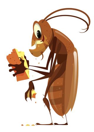 Cartoon-Kakerlake, die Käse-Vektor-Illustration isst