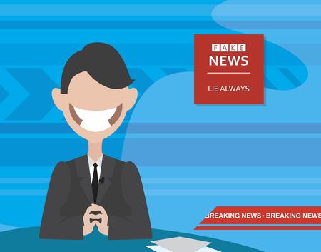 cartoon announcer at the fake news Studio