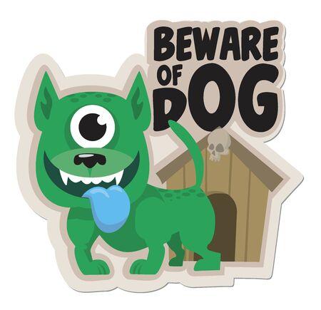 funny sticker Beware of the dog vector illustration Vetores