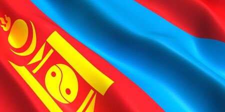 the flag of Mongolia flutters in the wind 3D Фото со стока