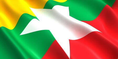 the flag of Myanmar flutters in the wind 3D