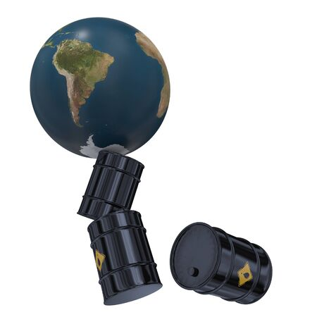 falling barrels of oil and the planet earth on a white background