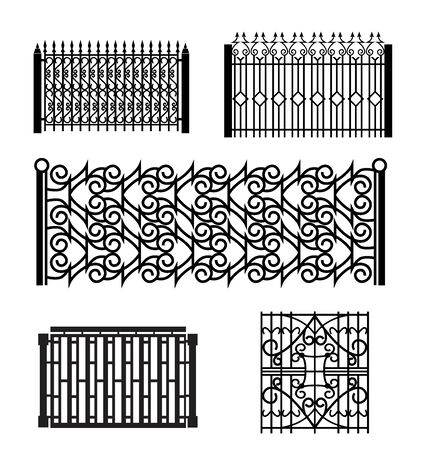 set of forged fence designs vector illustration