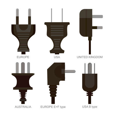 types of power plugs used in different countries vector illustration