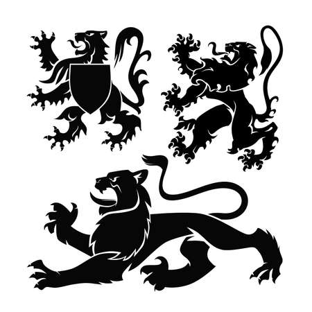 Heraldic Lions set vector illustration