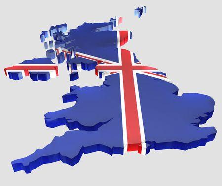 great britain: Map the United Kingdom. Stock Photo