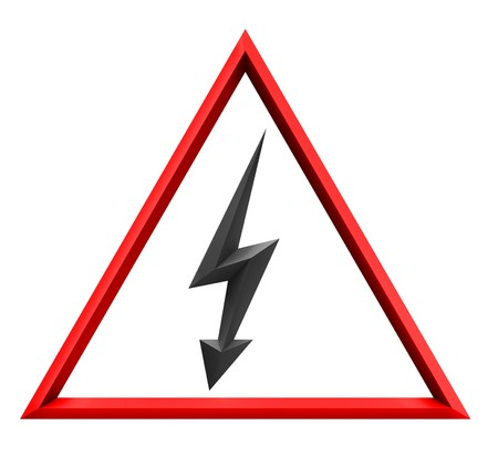 High voltage sign with light photo