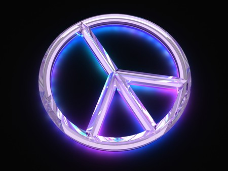 Peace sign with light Stock Photo